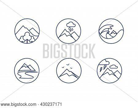 Mountain Line Round Icons Set. Collection Of Logos