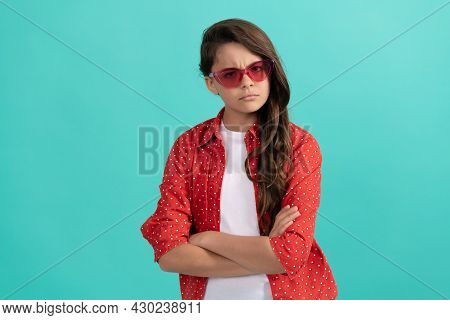 Serious Confident Kid Long Curly Hair In Sunglasses And Casual Shirt Crossed Hands, Confidence