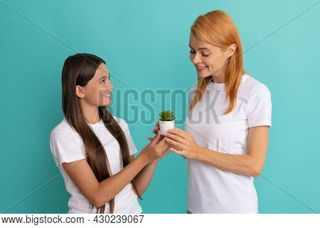 Every Child Needs Mothering. Happy Daughter And Mother Hold Houseplant. Mothering Care
