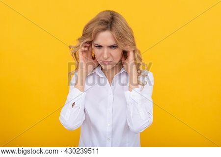 It Is Painful. Unhappy Girl Has Pain In Ears. Suffering From Earache. Ear Pain. Headache.