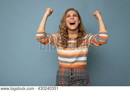 Portrait Of Emotional Happy Positive Young Attractive Blonde Curly Woman With Sincere Emotions Weari