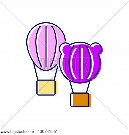 Taiwanese Hot Air Balloon Festival Flat Icon. Taiwan Celebration. Oriental Custom. Asian Item. Color