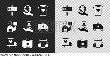 Set Help Sign, Hand Holding Earth Globe, Clothes Donation, Delivery Truck With Heart, First Aid Kit,