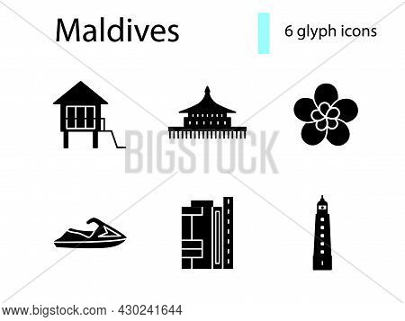 Maldives Specialty Glyph Icons Set. Water Bungalow. Tropical Flower. Jet Ski And Lighthouse. Black F
