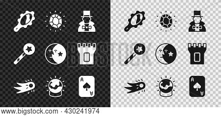 Set Magic Hand Mirror, Stone, Magician, Fireball, Playing Cards, Wand And Moon Stars Icon. Vector