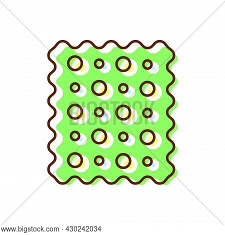 Patterned Fabric Flat Icon. Material Feature. Textile Industry. Color Symbol. Isolated Vector Stock