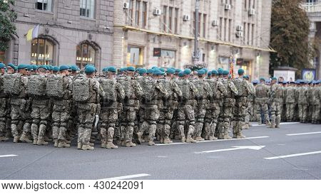 Rehearsal Of Military Parade,formation Of Troops On Occasion Of Declaration Of Independence Of Ukrai