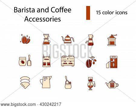 Coffee And Barista Appliance Flat Icons Set. Roasted Beans. Big Professional Machine. Coffee Prepara