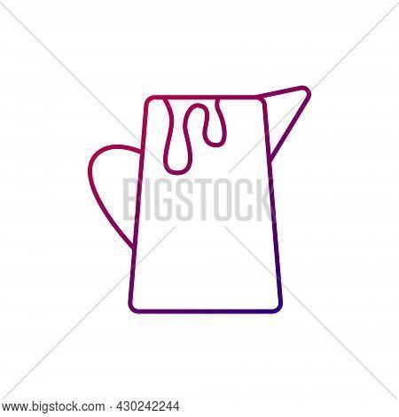 Milk Jug Outline Icon. Creamer For Coffee. Purple Gradient Symbol. Isolated Vector Stock Illustratio