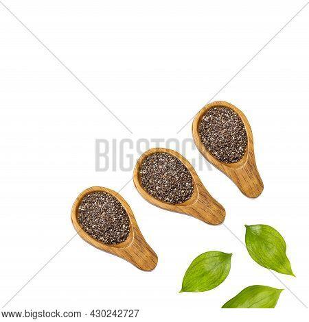 Dried Organic Chia Seeds In Three Spoon - Salvia Hispanica