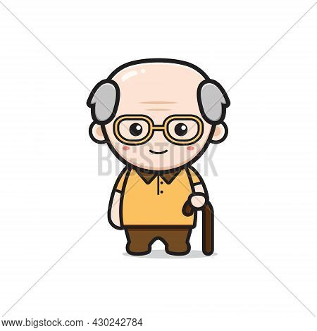 Cute Grandfather Character Cartoon Icon Illustration. Design Isolated Flat Cartoon Style