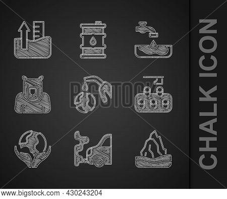 Set Gas Pump Nozzle And Globe, Car Exhaust, Iceberg, Deforestation, Hand Holding Earth, Polar Bear H