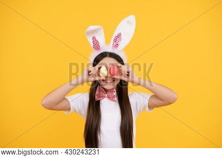 Pretty Bunny. Funny Child In Rabbit Ears. Smiling Teenager Girl In Bow Tie. Bunny Egg Hunt.