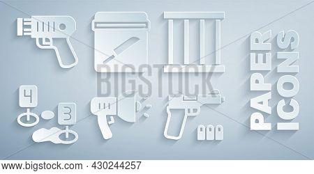Set Police Megaphone, Prison Window, Marker Of Crime Scene, Pistol Or Gun, Evidence Bag With Knife A