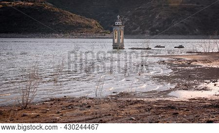 Ruined Old Church In Alassa, Cyprus Is Submerged Under Water Of Kouris Dam