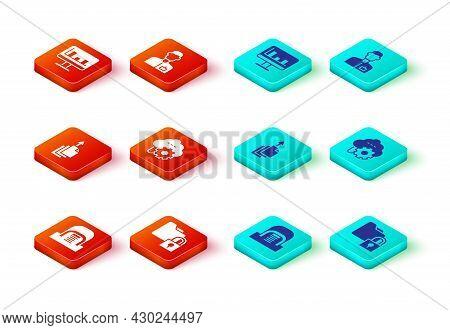 Set Hangar With Servers, Folder And Lock, Data Export, Cloud Technology Data Transfer, Analyst Engin