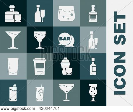 Set Glass Of Beer, Champagne Bottle, And Glass, Whiskey, Wine, Martini, Whiskey And Street Signboard