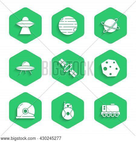 Set Satellite, Robot, Mars Rover, Asteroid, Astronaut Helmet, Ufo Flying Spaceship, Satellites Orbit