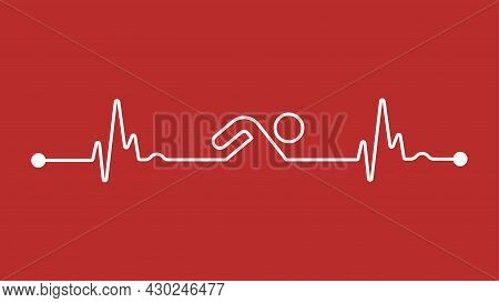 Swimming Makes Your Heart Stronger And Cardiology Healthier Icon Logo Sign Background