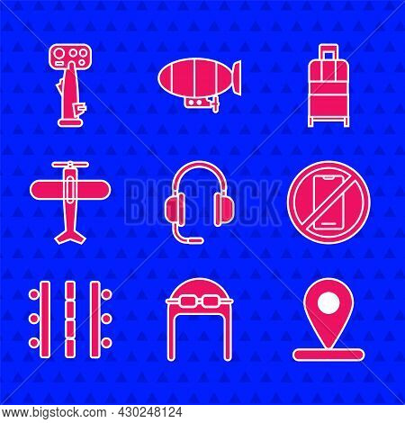 Set Headphones With Microphone, Aviator Hat Goggles, Location, No Cell, Airport Runway, Plane, Suitc