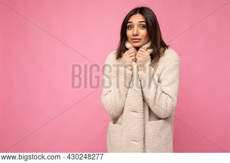 Portrait Of Pretty Charming Self-confident Good-looking Stylish Young Brunette Woman Wearing Autumn