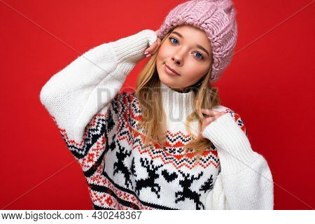 Shot Of Charming Fascinating Pretty Young Blonde Woman Isolated Over Red Background Wall Wearing Win