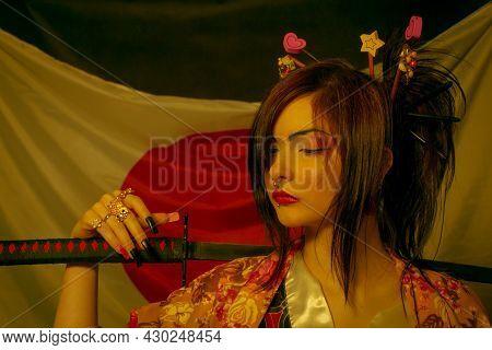Kawaii Japanese Girl With Katana Posing Over Japanese Flag