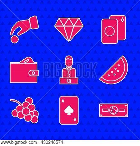 Set Casino Dealer, Playing Card With Spades, Stacks Paper Money Cash, Slot Machine Watermelon, Grape