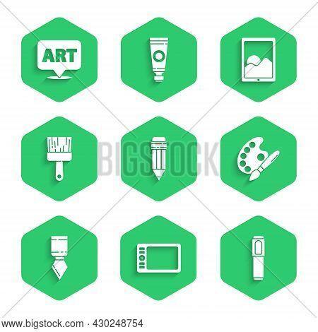 Set Pencil With Eraser, Graphic Tablet, Marker Pen, Paint Brush Palette, Palette Knife, And Speech B