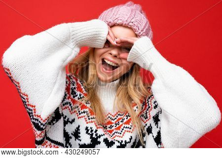 Closeup Of Young Positive Happy Beautiful Blonde Woman With Sincere Emotions Wearing Pink Knitted Ha
