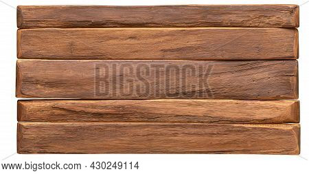 Wood Texture. Vintage Wood Board Surface Isolated On White Background. Brown Wood Panel
