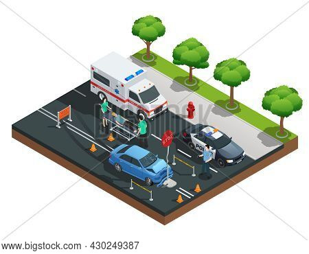 Isometric Road Accident Composition With Car Bumped Into Traffic Sign And Injured Driver On Emergenc