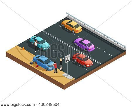 Car Accidents Isometric Composition With Two People Having Flat Tyre And Asking For Help Vector Illu