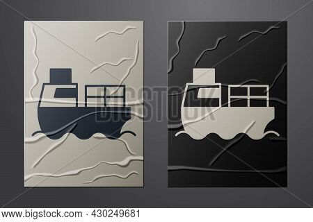 White Cargo Ship With Boxes Delivery Service Icon Isolated On Crumpled Paper Background. Delivery, T