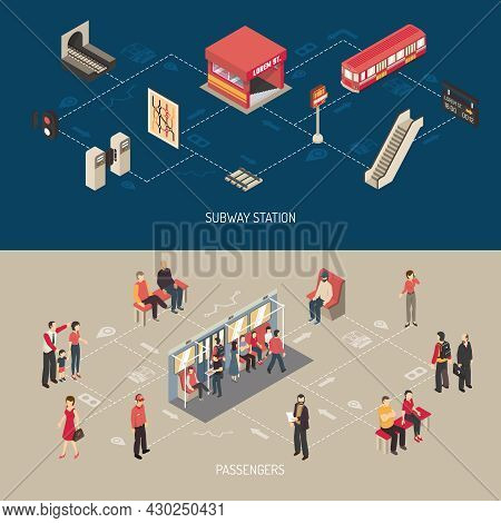 Subway Isometric Horizontal Banners With Elements Of Lobby And Underground Station And Passengers Go