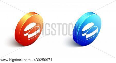 Isometric Macaron Cookie Icon Isolated On White Background. Macaroon Sweet Bakery. Orange And Blue C