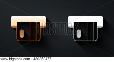 Gold And Silver Credit Card Inserted In Card Reader Icon Isolated On Black Background. Atm Cash Mach