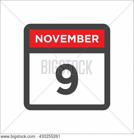 November 9 Calendar Icon W Day Of Month