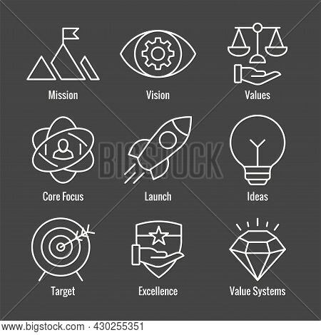 Mission Vision And Values Icon Set With Rocket, Ideas, & Goal Icons