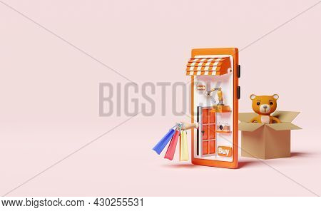 Orange Mobile Phone Or Smartphone With Store Front,hand Holding Colorful Shopping Paper Bags,goods C