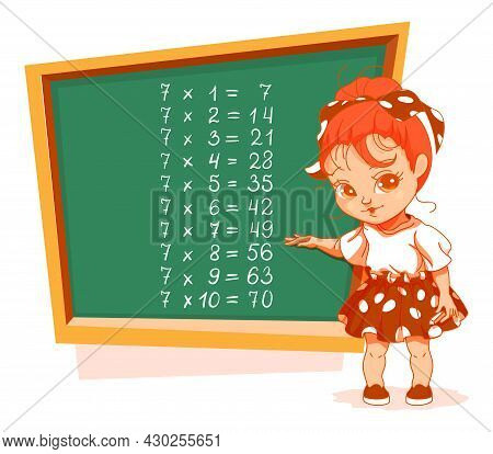 Schoolgirl At Blackboard 7 Multiplication Table Vector Cartoon
