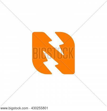 Letter N Flash Thunder Energy Simple Geometric Logo Vector