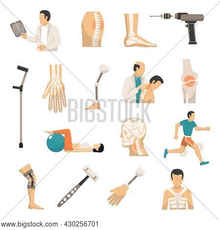 Orthopedics And Prosthetics Medicine Isolated Icons With Bones Of Vertebral Column Arm And Foot Pros