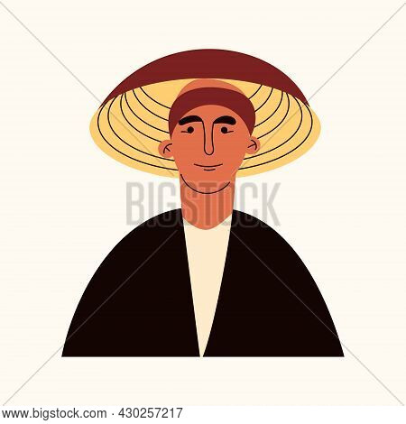 Portrait Of Asian Man In Conical Straw Hat, Traditional Chinese Vietnamese Headdress. Avatar Of Youn