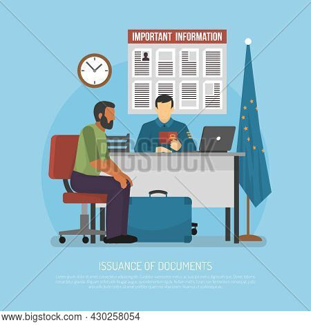 Issuance Of Documents For Immigrant Flat Vector Illustration