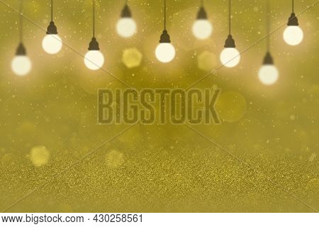 Yellow Beautiful Shining Abstract Background Glitter Lights With Light Bulbs And Falling Snow Flakes