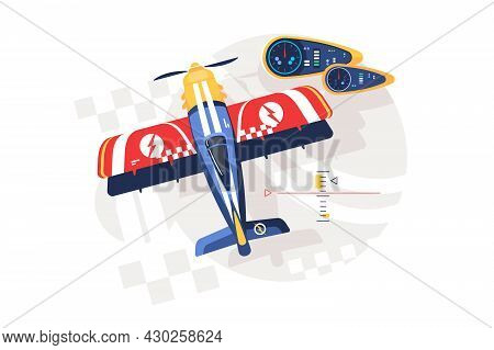 Colourful Airplane And Display Vector Illustration. Control Interface Flat Style. National Aviation