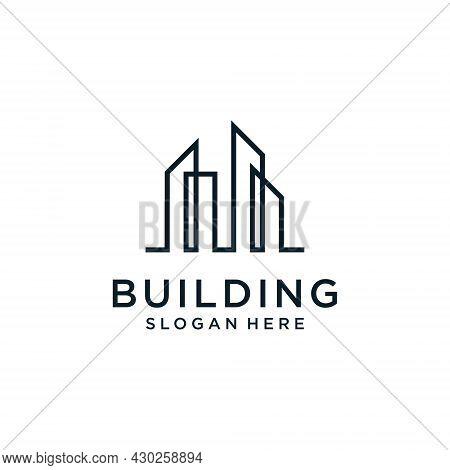 Building Idea Vector Logo Design Template. Real Estate Logo Vector Illustration. Construction And Pr