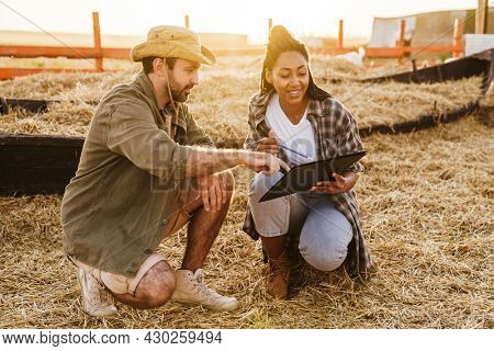 Two smiling multiethnic farmers taking notes in a paddock