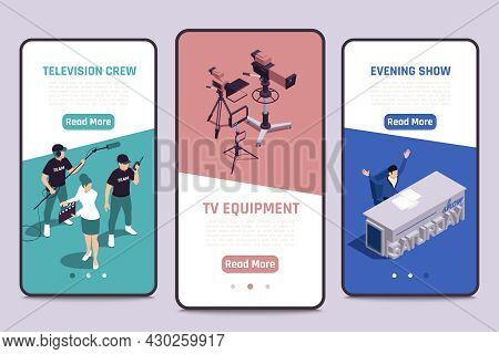 Tv Show Production 3 Isometric Smartphone Screens Banners With Director Assistant Camera Crew Televi